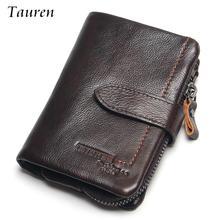TAUREN Zipper Pocket Men Vintage Wallets Oil Wax 100% Genuine Leather Wallet Fashion Brand Purse Card Holder Coin Purse