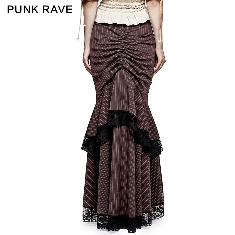 Completo Encaje Q306co Rave Mujeres Falda Fishtail Magnífico Punk Nueva Steampunk Café falda Victorian Clásica Oxw0nfZqP