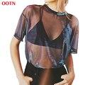 OOTN metallic shimmer malha T shirt mulheres manga curta O Pescoço tops das senhoras do clube de roupas de verão outono roupa camisetas tee top