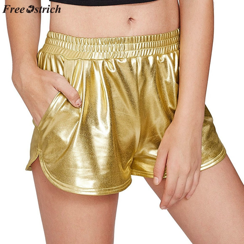 FREE OSTRICH New fashion gold and silver solid color women's high waist sports   shorts   shiny metal   shorts   tight leather   shorts
