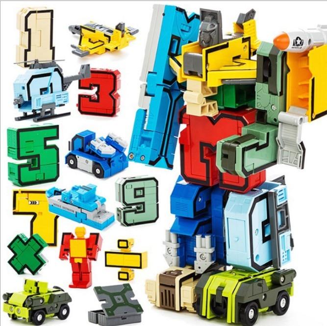 15pcs Number Robot Transformation Alphabet Dinosaur Robot Animal Educational Action Figures Building Block Model Kids Toys gift цена