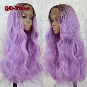 Image 4 - QD Tizer שיער תחרה מול פאת בלונדינית Ombre שיער חום שורש טבעי Glueless סינטטי תחרה קדמית נשים