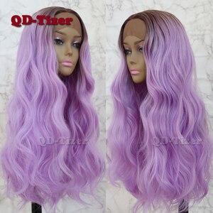 Image 4 - QD Tizer saç dantel ön peruk sarışın ombre saç kahverengi kök doğal saç çizgisi tutkalsız sentetik dantel ön peruk s kadın için