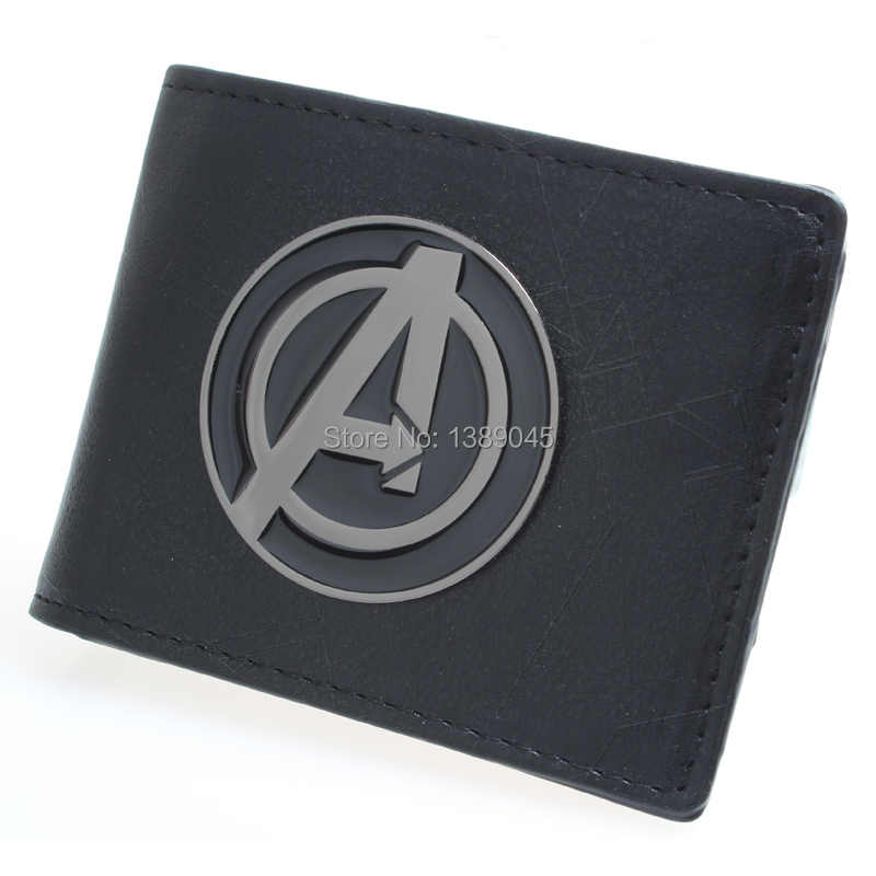 Captain America wallet men and women fashion personality brief paragraph large metal  PU wallet  captain america shield DFT-1325