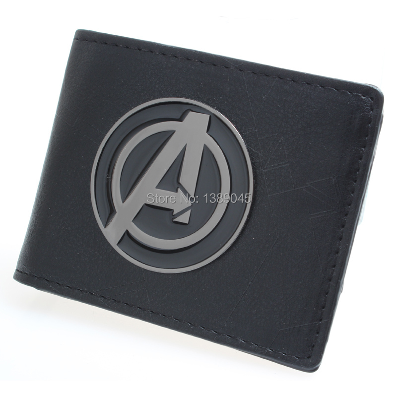 Captain America wallet men and women fashion personality brief paragraph large metal  PU wallet  captain america shield DFT-1325 captain america black metal badge bi fold wallet faux leather dft 1413