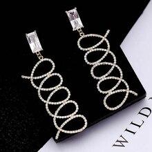 Ruifan Europe Silver/Gold Color Geometric Line Cubic Zircon Long Drop Earring 2019 Fashion Special Earrings Women Jewelry YEA066