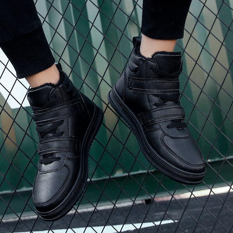 Casual Mode Boots Taille Noir Bottes Chelsea Chaussures D'hiver En Black Mâle Hommes Cnfiia Fourrure Cuir De Boots Sneaker white Blanc 39 2018 nZpOIxq