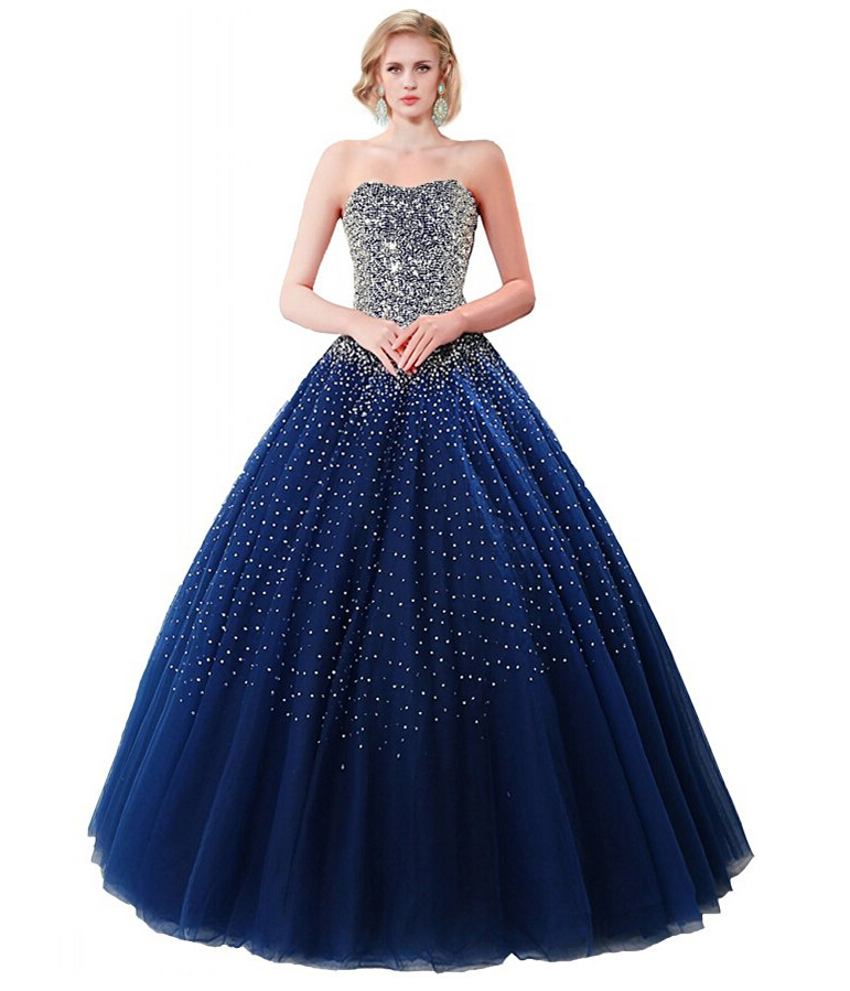 2016 long sequined navy blue ball gown wedding dresses for Navy dresses for weddings