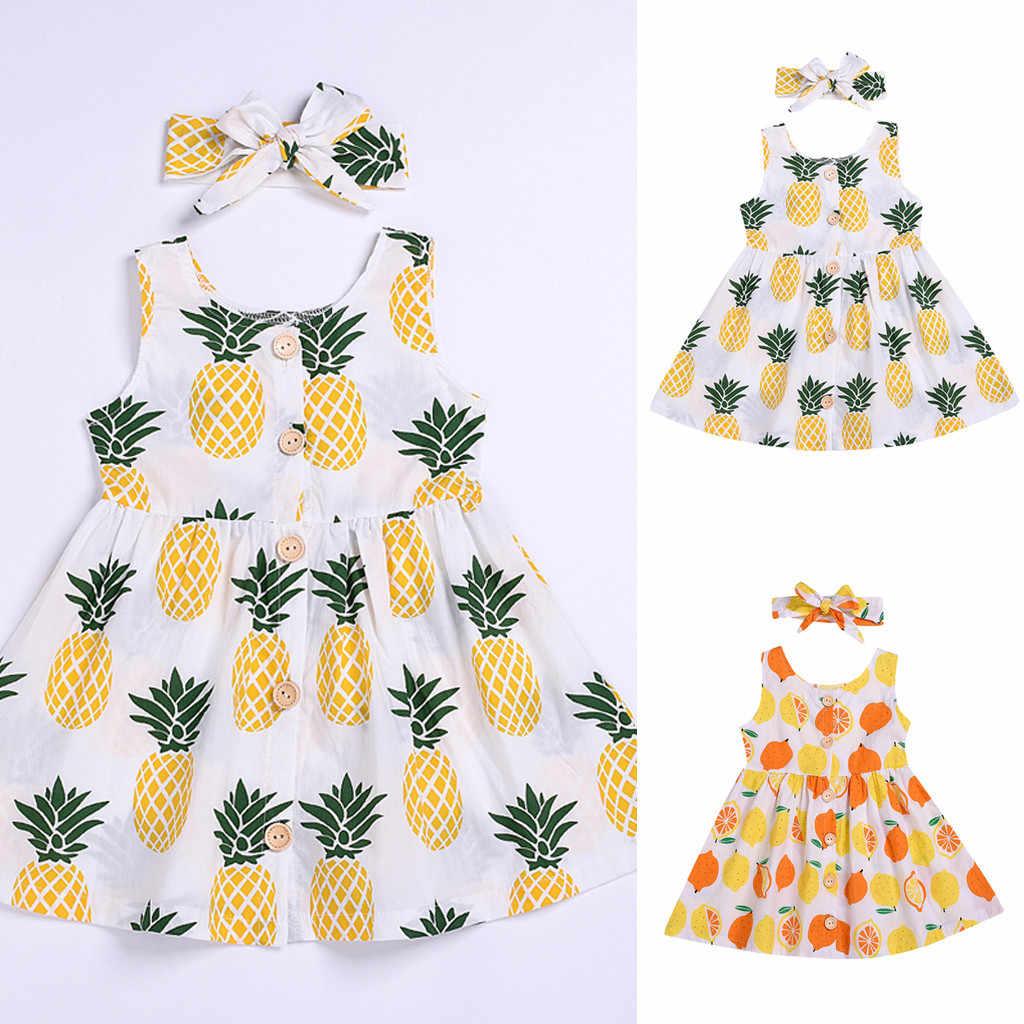 Детские платья для маленьких девочек, vestidos infantil kiz bebek elbise, вечерние платье принцессы без рукавов с принтом фруктов для девочек, одежда
