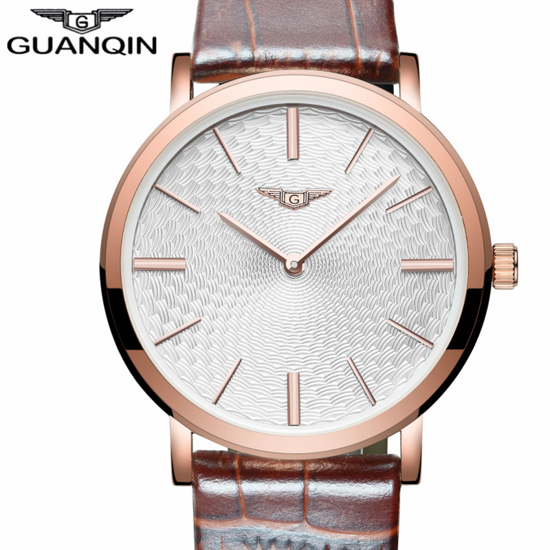 все цены на Mens Watches Top Brand Luxury GUANQIN Fashion Casual Ultra Thin Quartz Watch Simple Men Leather Wristwatch relogio masculino онлайн