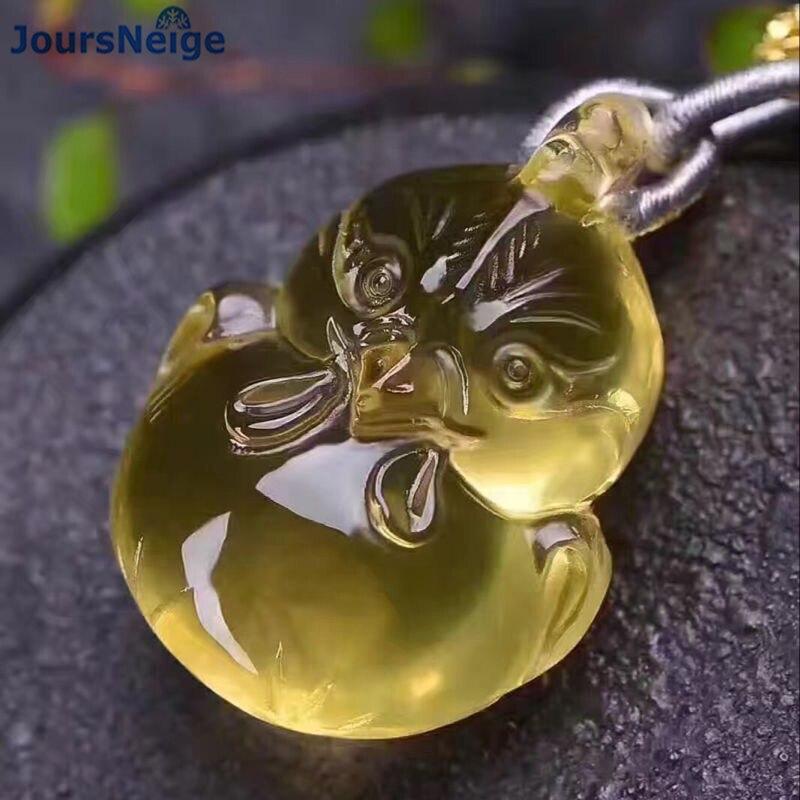 En gros jaune naturel cristal pendentif poulet pendentif perles chaîne cristal collier chanceux pour femmes hommes mode bijoux