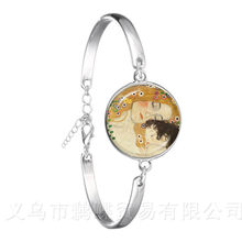 Mothers Day Bracelet Gustav Klimt The Kiss Art Jewelry Silver Plated Chain Bangle For Women Men Wonderful Gift(China)