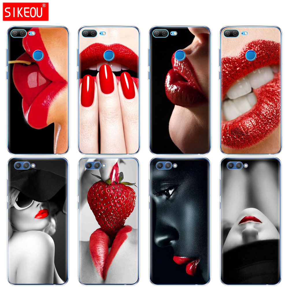 <font><b>Silicone</b></font> Cover phone <font><b>Case</b></font> for Huawei <font><b>Honor</b></font> 10 V10 3c 4C 5c 5x 4A 6A 6C pro 6X 7X 6 7 8 <font><b>9</b></font> <font><b>LITE</b></font> Red Sexy Lips girl Korea Monroe image