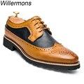 Primavera y Otoño Moda hombre Brogue Zapatos de Cuero Genuino de la Vaca Hombres de Oficina Vestido de Conducción Oxfords Zapatos Hombre