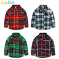 Jiuhehall 2017 New Spring Autumn Boys Long Sleeve Shirts Bows Decor Plaid Shirts For Kids Cotton Children's Tops CMB842