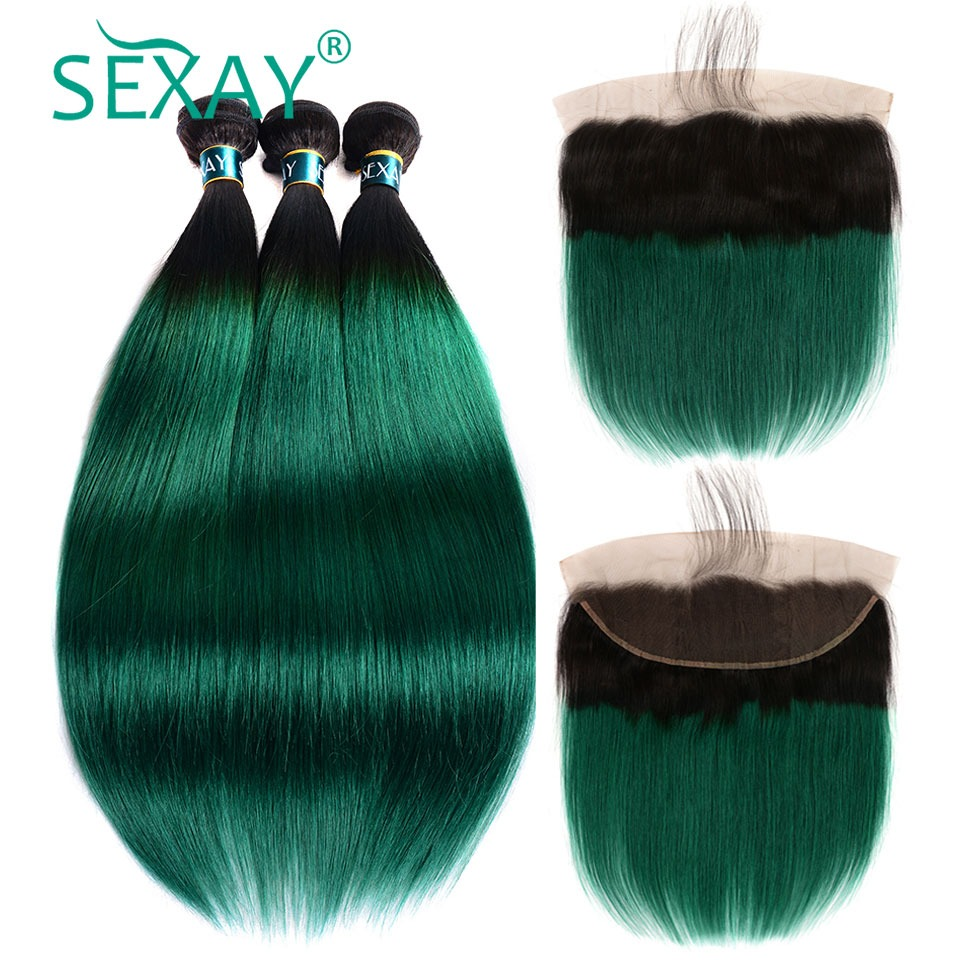 Human Hair Weaves Sexay Pre-colored Ombre Bundles With Closure 3 Bundles With Closure T1b/ Green Dark Roots Turquoise Silk Straight Human Hair Non-Ironing