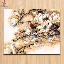 Coloring by numbers Magpies Diy oil painting by numbers Flowers and birds picture on canvas paint by numbers with kits for girls