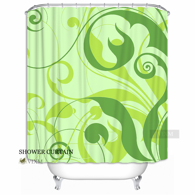 Vixm Home Full of Green Leaf Fabric Shower Curtain Simple Early ...