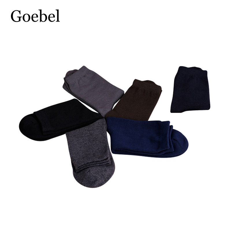 Goebel Socks Brand Men Fashion In Tube Cotton Socks Man Casual Solid Color Business Male Dress Socks 3pairs/lot