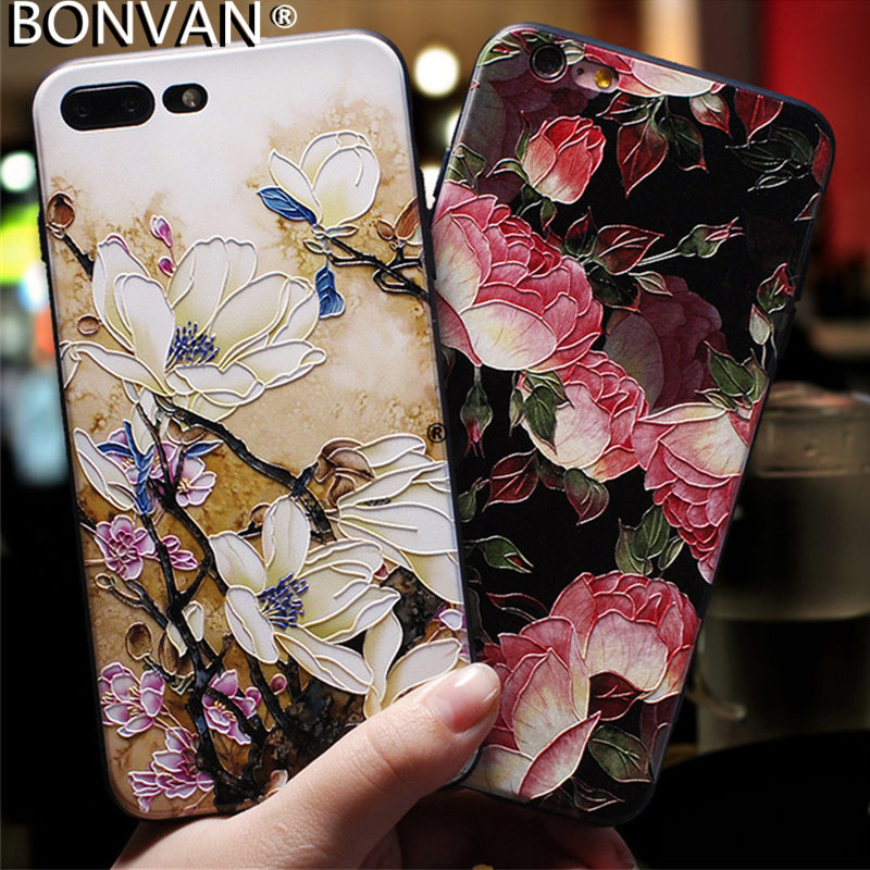 BONVAN 3D Relief Flower Painted Case For iPhone 6 6s 7 8 Plus Soft Silicone Floral Back Cover For iPhone X 5 5s SE Coupe Capa