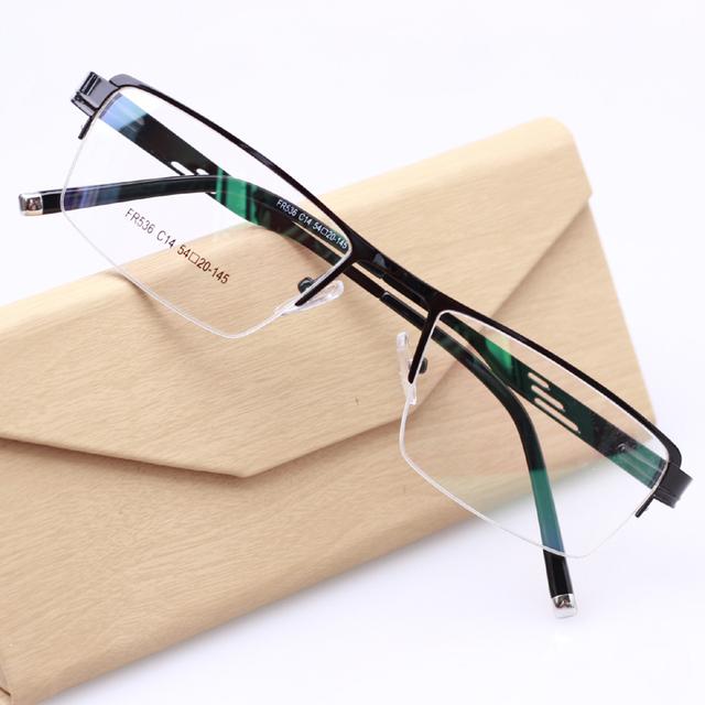 Nuevos hombres de la Moda Óptica Gafas Medio Marco de Anteojos Sin Montura Framese claro Gafas Hombres oculos de grau TD-536 2 Color Negro gris