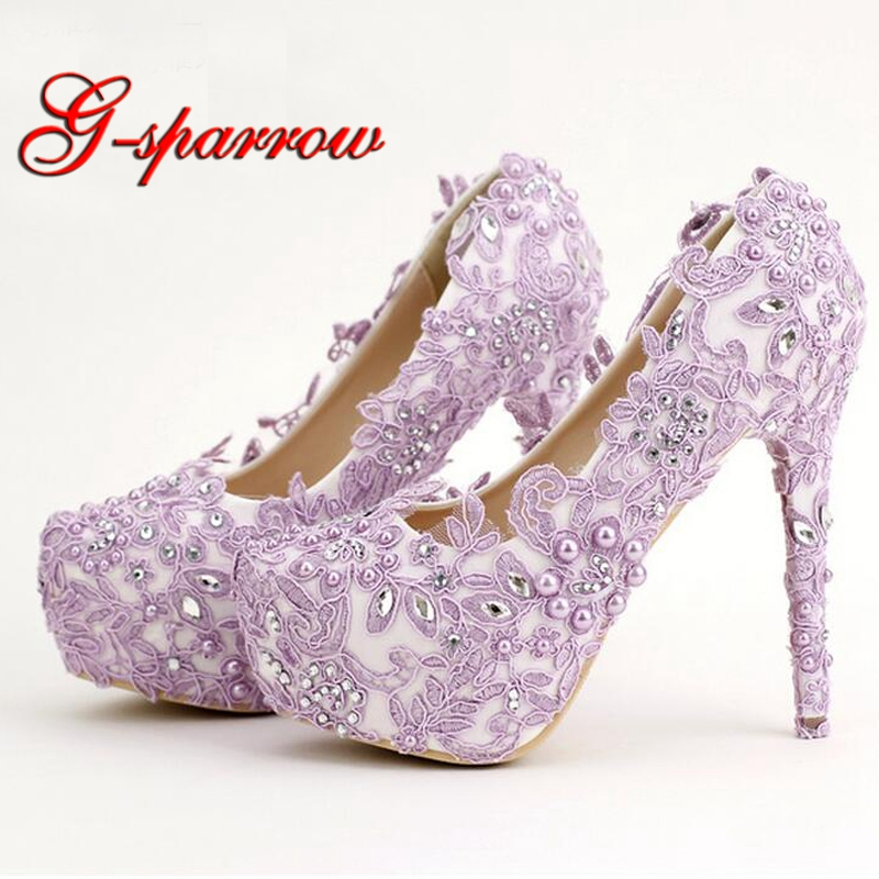Lavender Bride Shoes High Heel Platform Shoes with Lace Flower Rhinestone Wedding Shoes Spring Women Pumps for Prom Event pure white pearl wedding dress shoes gorgeous red rhinestone heart shape women pumps 3 inches high heel bride shoes event pumps