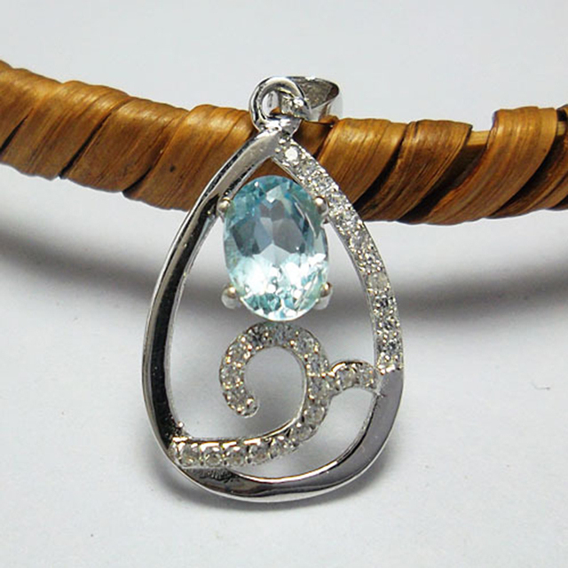 Moda 925 collar de plata colgante 5*7mm natural topacio topacio piedra colgante sólido 925 plata fina joyería romántica regalo