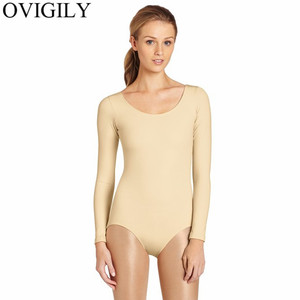 Image 2 - OVIGILY Adults Long Sleeve Dance Leotards For Women Spandex Scoop Neckline Black Ballet Gymnastics Bodysuit Team Basic Dancewear