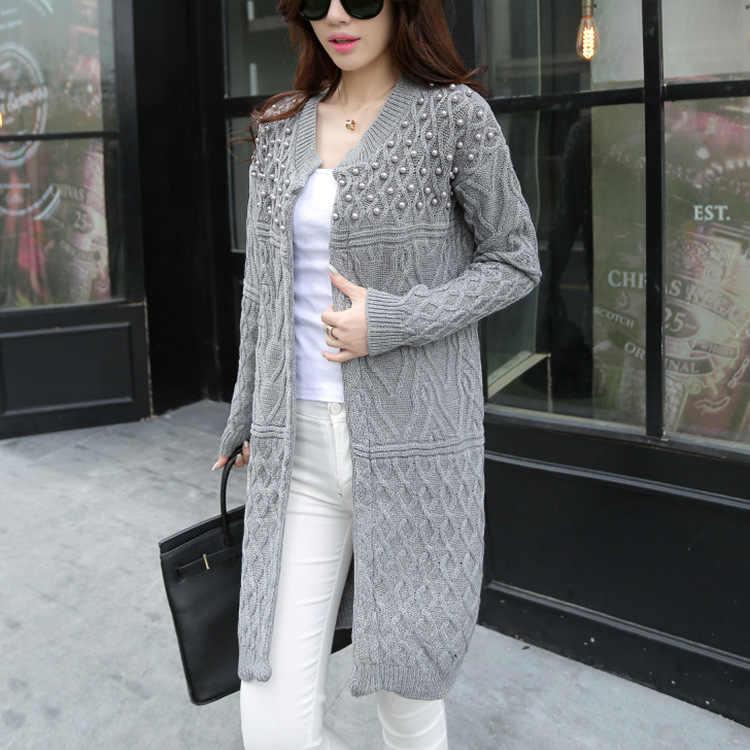 Pullover frauen 2019 mode Lange Lose pullover Strickjacke Twist Bead Dünne lange-ärmeln pullover frauen Kleidung Vestidos MMY17148