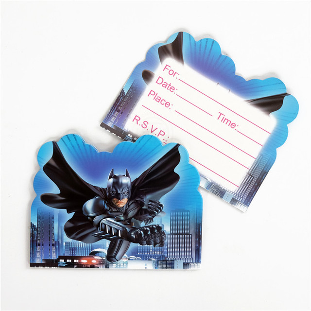 10pcs Lot Invitation Card Batman Avengers Super Hero Kids Birthday