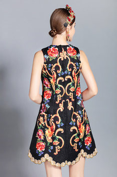 Mini vestido vintage estampado retro apliques 1