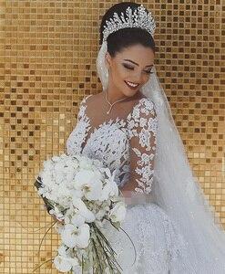 Image 3 - Vestido דה noiva ארוך שרוולי בת ים רומנטי לראות דרך תחרה Sheer robe דה mariee Custom ערב הכלה שמלות