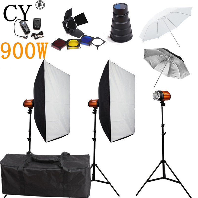 CY Photography Studio Soft Box Flash Lighting Kits 900w Flash Light 3 Softbox 2 Stand 3