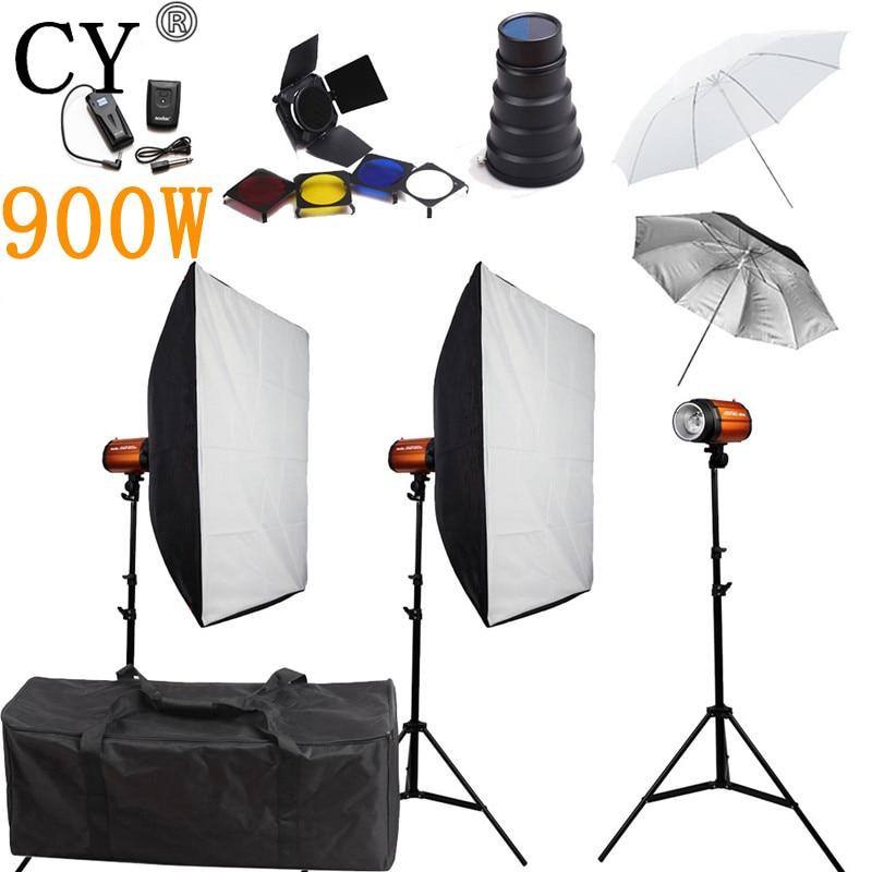 CY Photography Studio Soft Box Flash Lighting Kits 900w Flash Light*3+Softbox*2+Stand*3 For Photo Studio Godox Smart 300SDI