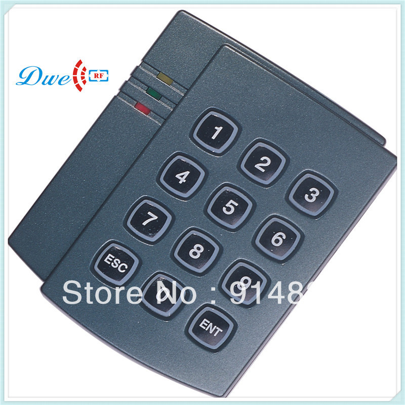 DWE CC RF Free Shipping +keypad reader +EM rfid smart card reader + 125khz+ wiegand 26 output access control system proxi rfid card reader without keypad wg26 access control rfid reader rf em door access card reader