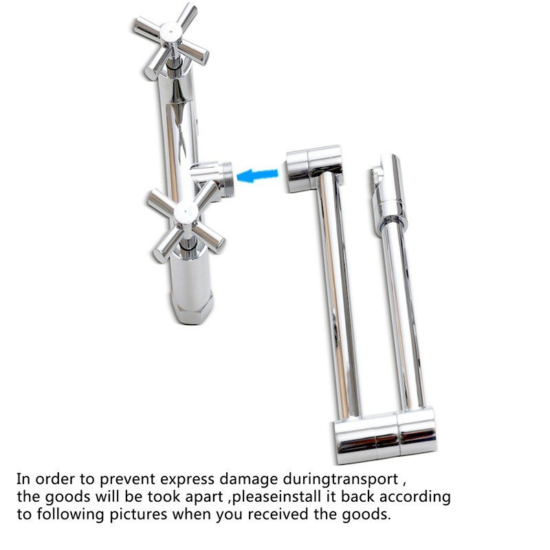 100%Brass Chrome Fold Kitchen Faucet Extension Hot and Cold Water Kitchen Faucet Mixer Tap Sink,Pot Filler 2016 New Design  hm 60003