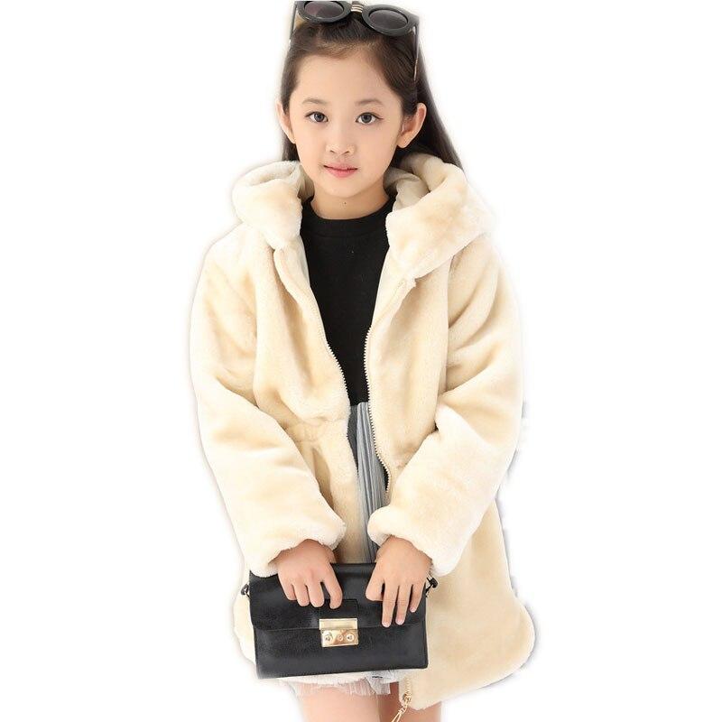 2018 Winter Big Girls Faux Fur Plush Coats Clothing Children Kids Long Cloak Cape Cardigan Jackets Hooded Overcoat Outerwear P68