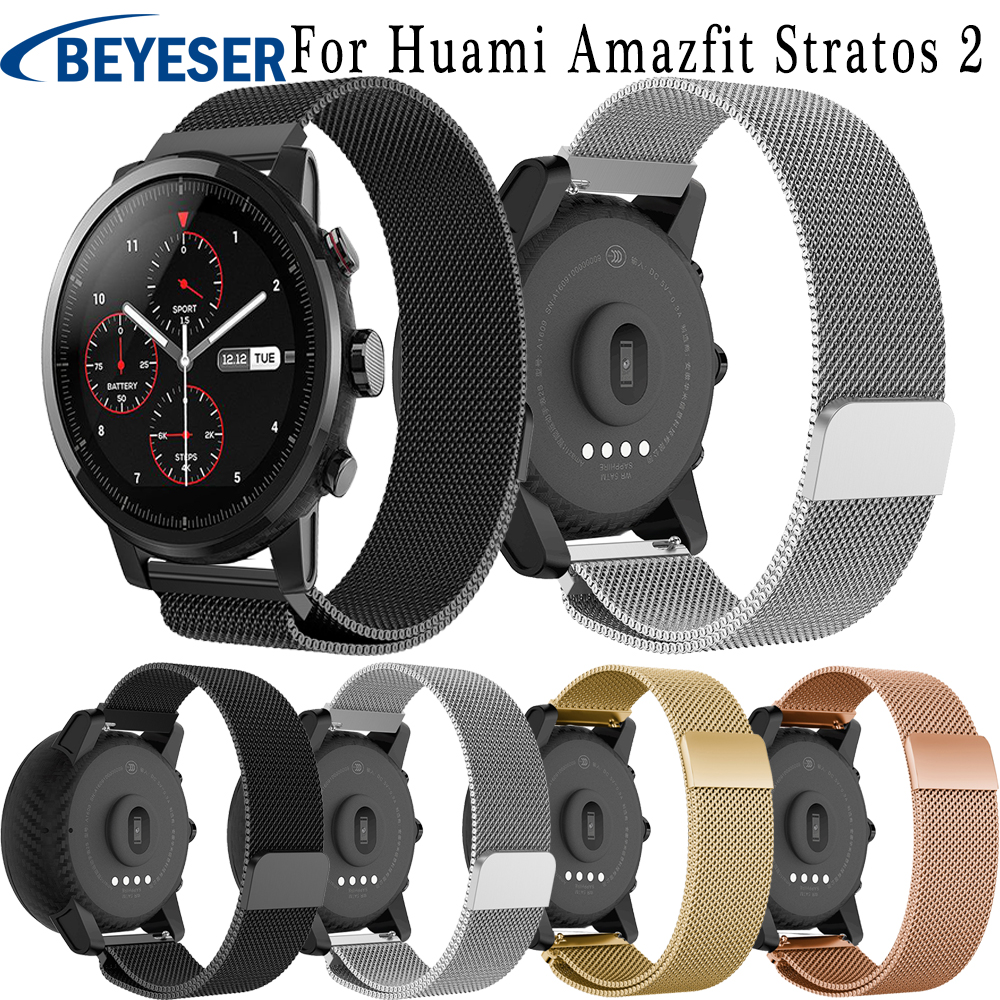 22mm Milanese Band For Samsung Gear S3 Frontier Classic Watch Band Strap Bracelet For Huami Amazfit Stratos 2 2S Watch Straps 22mm silicone sport watch band for samsung gear s3 smart watch strap for xiaomi huami amazfit stratos 2 2s replacement watchband