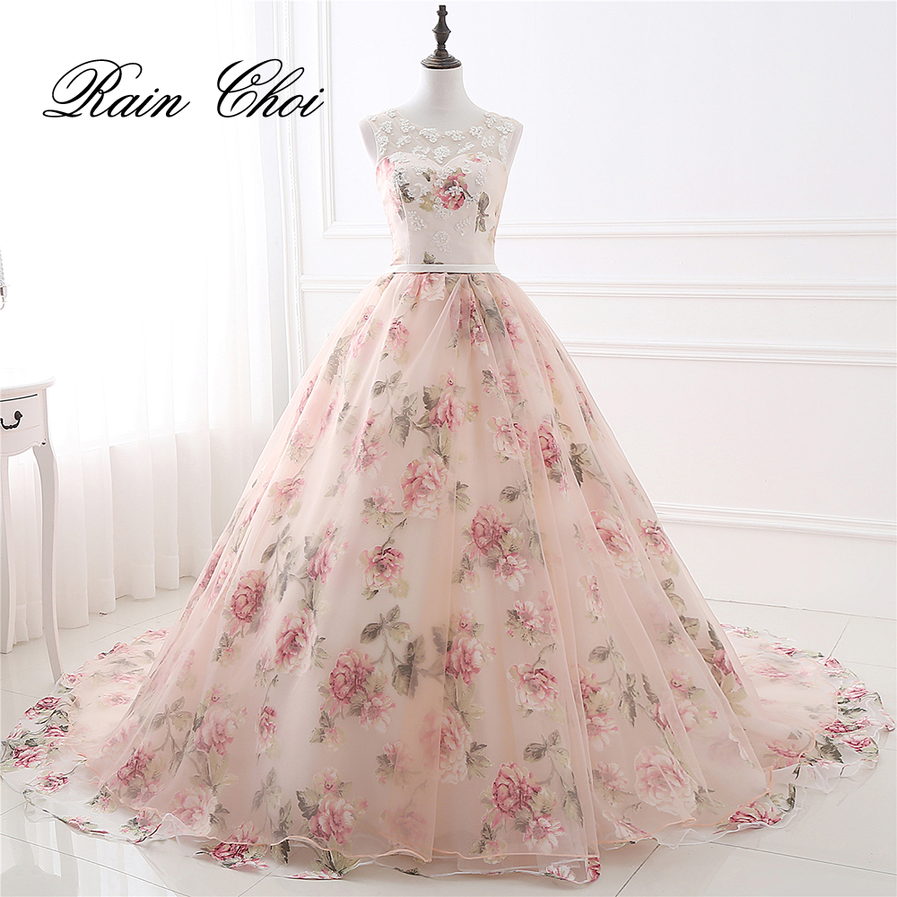 Evening     Dresses   Party Long Prom Gown O Neck Flower Pattern Floral Print Chiffon   Evening     Dress   2019