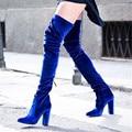 Мода Бархатная Женщины Упругой Над Коленом Сапоги Комфортно Бедра Высокие Сапоги Квадратные Туфли На Высоких Каблуках Женщина