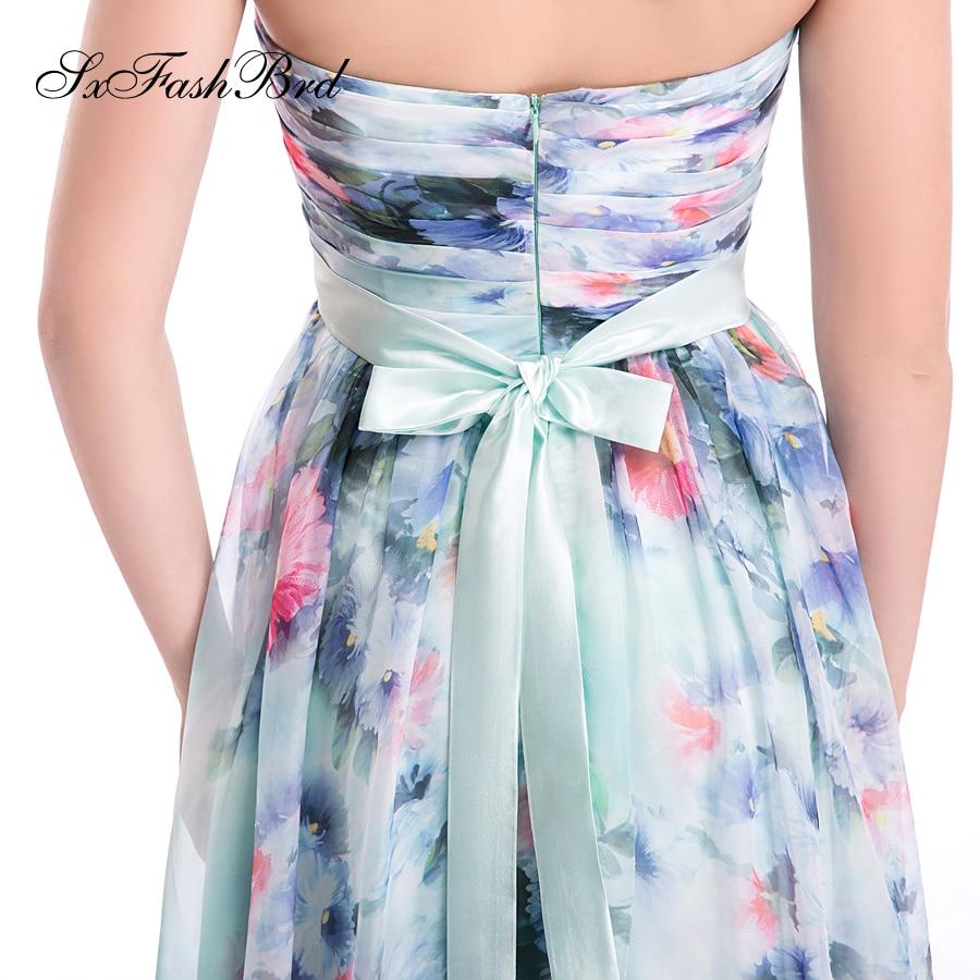 Vestido De Festa Sweetheart A Line Summer Print Flower Chiffon Long - Հատուկ առիթի զգեստներ - Լուսանկար 5