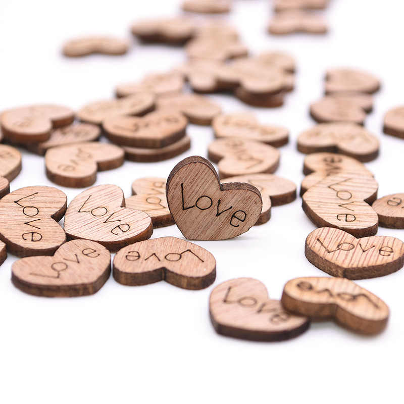100pcs/lot Heart-shaped Wood Chip DIY Crafts Lettering Love Wood Block Scraping Supplies Handmade Graffiti Button Wedding Deco