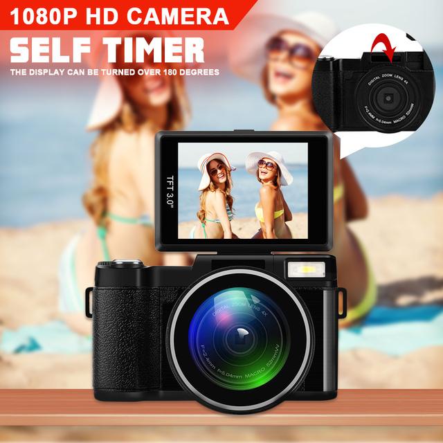24MP HD Half-DSLR Professional Digital Camera 4x Zoom w/ Macro Wide Angle Lens 1080P Digital Video Camcorder DVR Recorder+Gift