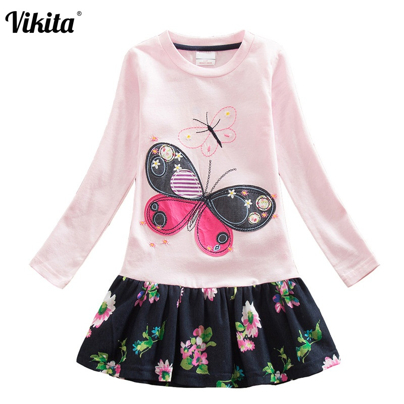 VIKITA Brand 2-8Y Dress for Baby Girls Long Sleeve Clothes Tutu Party Flower Girl Dresses Children Kid Floral Dresses LH5460 Mix vikita brand new girl dresses 100% cotton girls butterfly cartoon dress toddlers summer short sleeve patchwork dresses sh4554