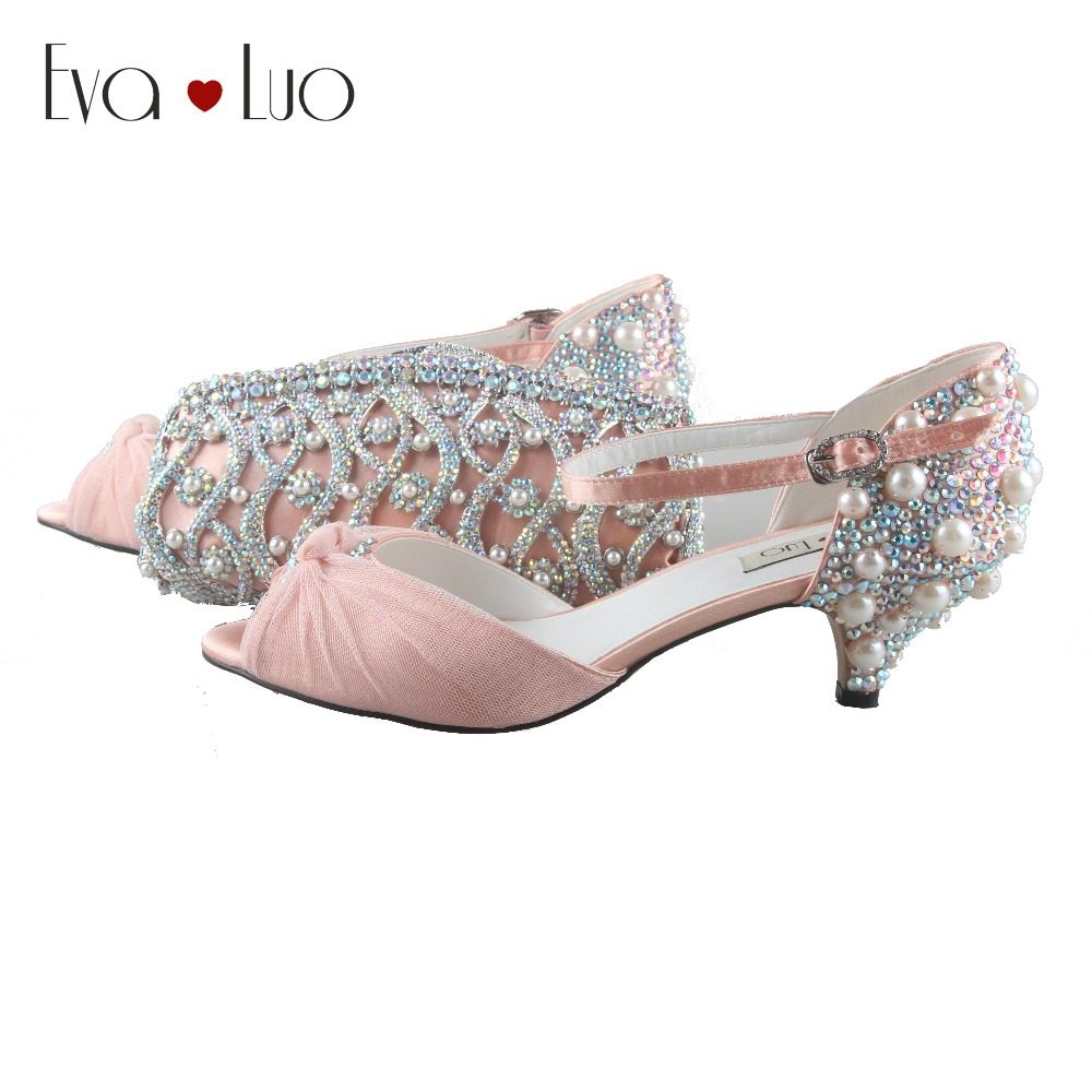 BS797 DHL Custom Made Peach Crystal Pearl Shoes With Matching Bag Set Low  Heel Women Shoes 7b1e46bdd1d9