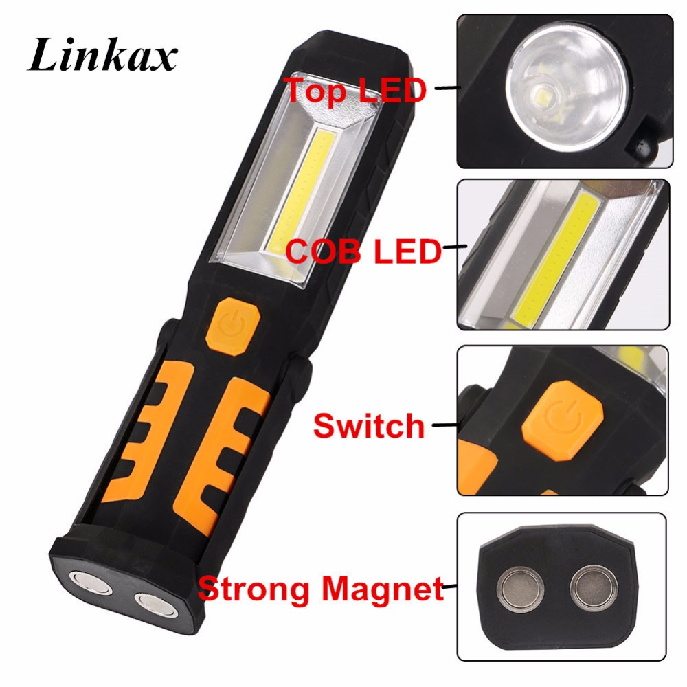 Multi-function COB LED Flashlight Magent Work Lamp White Red Warning Light LED Flash Lamp Torch With 360-degree foldable Hook