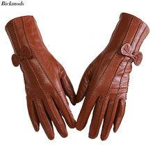 Leather sheepskin gloves womens mid length stripes plus velvet warm autumn and winter windproof free shipping