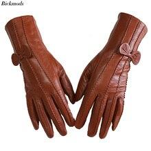 Leder schaffell handschuhe frauen mid länge streifen plus samt warme herbst und winter winddicht kostenloser versand