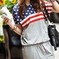 Mulheres Pullover Camisola de Algodão Vestido de Verão Vestido Curto Com Capuz Fino Vestido Com Bolsos Sexy Bandeira Nacional Vestido de Verão
