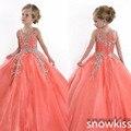 Coral Cristais Beads Vestidos de Baile sparkly Pageant Dress for little girl glitz crianças evening prom vestidos de festa para a ocasião especial